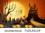 vector illustration of scary... | Shutterstock .eps vector #710134129