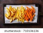variety of potatoes for garnish ... | Shutterstock . vector #710136136