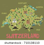 illustration map of switzerland ... | Shutterstock .eps vector #710138110