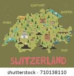 illustration map of switzerland ...   Shutterstock .eps vector #710138110