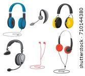 headphones set  music ... | Shutterstock .eps vector #710144380