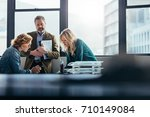female business colleagues... | Shutterstock . vector #710149084