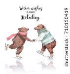 Watercolor Skating Bears....
