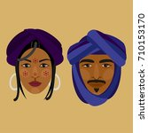 tuareg. man and woman. vector...   Shutterstock .eps vector #710153170