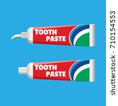tube with squeezed paste.... | Shutterstock .eps vector #710154553