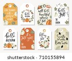 set of autumnal tags for... | Shutterstock .eps vector #710155894
