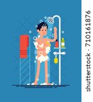 man taking shower. cool vector... | Shutterstock .eps vector #710161876