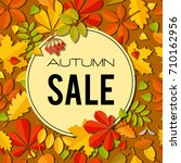 sale banner with bright autumn... | Shutterstock . vector #710162956