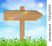 wood board sign with grass and... | Shutterstock .eps vector #710163310