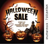 halloween sale background with... | Shutterstock . vector #710164564