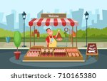 local market place with fresh... | Shutterstock .eps vector #710165380
