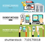 mobile payments  pos terminal... | Shutterstock .eps vector #710170018