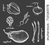 vegan menu   eggplant radish... | Shutterstock .eps vector #710183578