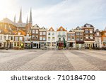 view on the beautiful buildings ... | Shutterstock . vector #710184700