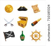 set of pirate icons as golden... | Shutterstock .eps vector #710185324