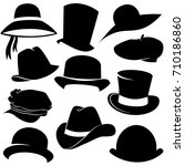 hat icon set isolated on white... | Shutterstock .eps vector #710186860