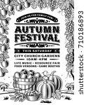 vintage autumn festival poster...   Shutterstock . vector #710186893