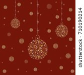 three new year golden ornaments ... | Shutterstock .eps vector #710190214