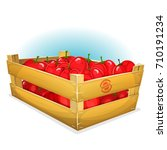 crate with tomatoes ... | Shutterstock .eps vector #710191234