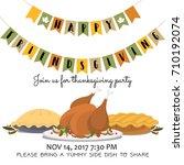 happy friendsgiving invitation... | Shutterstock .eps vector #710192074