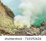 sulfur mining at ijen volcano... | Shutterstock . vector #710192626
