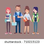 students with teachers vector... | Shutterstock .eps vector #710215123