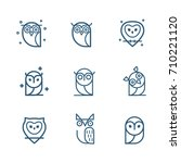 owl outline icons collection.... | Shutterstock .eps vector #710221120
