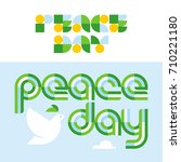 peace day card with modern... | Shutterstock .eps vector #710221180