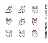 owl outline icons collection.... | Shutterstock .eps vector #710221198