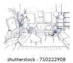 monochrome drawing of interior... | Shutterstock .eps vector #710222908