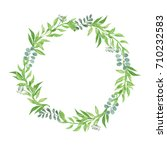 green leaves natural wreath... | Shutterstock . vector #710232583