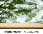wood shelf table with garden...   Shutterstock . vector #710232898