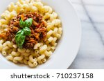 vegetarian vegetable pasta... | Shutterstock . vector #710237158