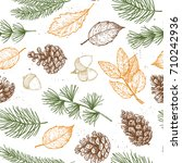 seamless pattern. hand drawn... | Shutterstock .eps vector #710242936