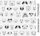 dog face funny cartoon doodle... | Shutterstock .eps vector #710244610