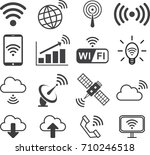 signal wireless icon set  flat... | Shutterstock .eps vector #710246518