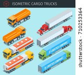 isometric cargo trucks with... | Shutterstock .eps vector #710253364