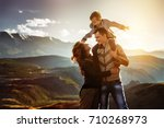 happy family of father mother... | Shutterstock . vector #710268973
