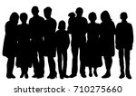 silhouette of big family ... | Shutterstock .eps vector #710275660