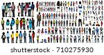 silhouette people in colored... | Shutterstock .eps vector #710275930