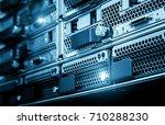 computer server in rack server... | Shutterstock . vector #710288230