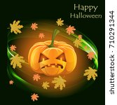 postcard for halloween with... | Shutterstock .eps vector #710291344
