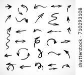 hand drawn arrows  vector set | Shutterstock .eps vector #710293108