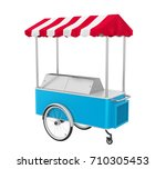 food cart isolated. 3d rendering | Shutterstock . vector #710305453