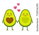 cute cartoon avocado couple... | Shutterstock .eps vector #710316190