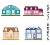 set of suburban houses on white ... | Shutterstock .eps vector #710317006