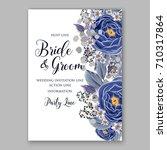invitation with blue ranunculus ... | Shutterstock .eps vector #710317864