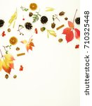 autumn composition. frame made... | Shutterstock . vector #710325448