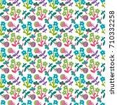 cute seamless floral pattern....   Shutterstock .eps vector #710332258