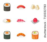 japanese food icons set.... | Shutterstock . vector #710332783